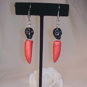 Jewelry - Skull & Spike Red & Black Stone Dangling Earrings